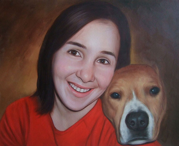 Custom oil painting of a lady an her dog