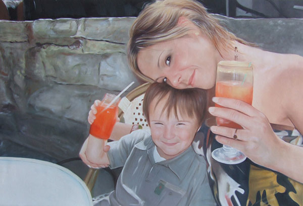 a custom oil paintng of mother and her boy