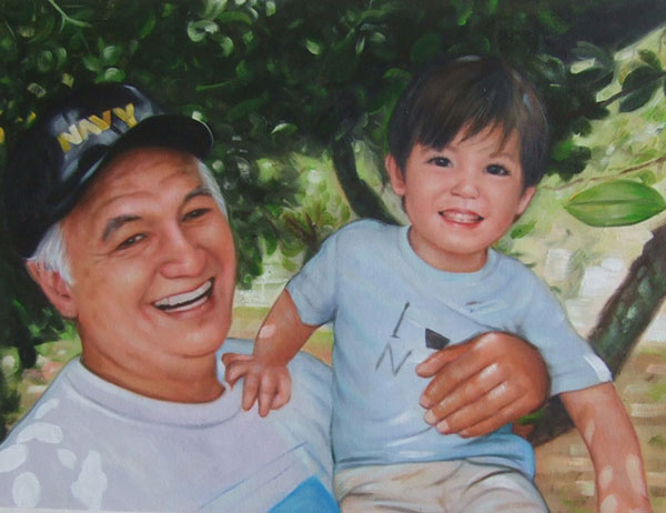 a custom oil paintng of grandfather and his grandchild