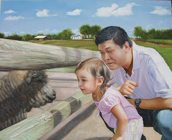 a custom oil paintng of father and daughter looking at sheep