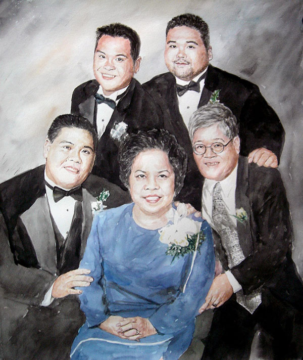 custom watercolor painting of Asian family