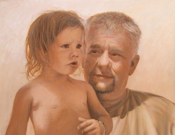 custom acrylic portrait of grandfather with grandson