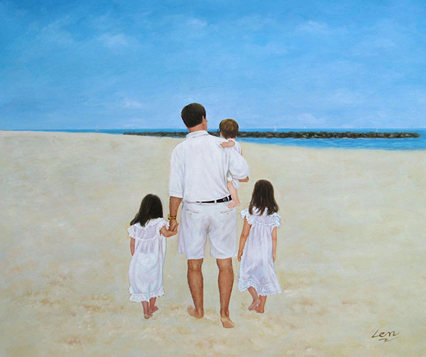 a custom oil painting of family in whites at the beach