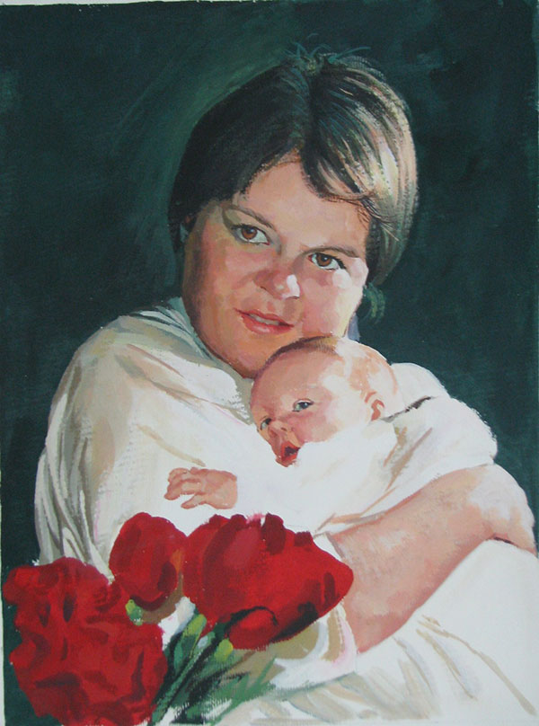 pastel painting of a mother and baby