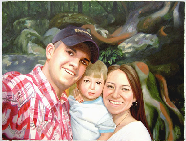 a custom oil painting of family in the woods
