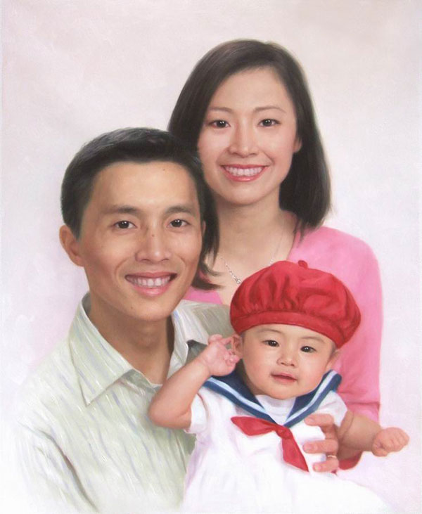 a custom oil painting of  asian family photo