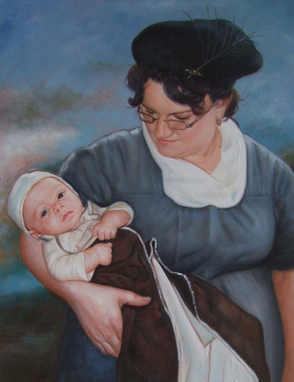 a custom oil painting of mother holding a baby