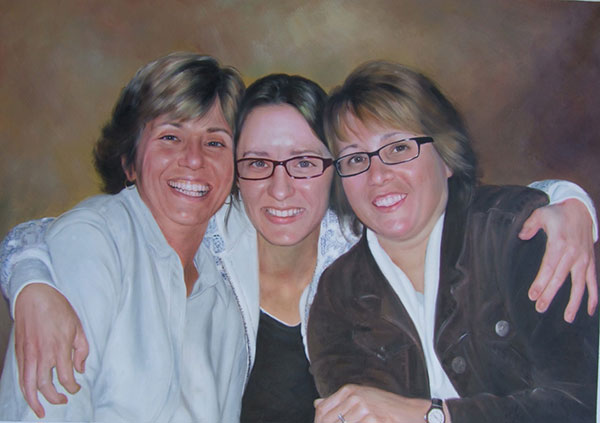 a custom oil painting of  mother and daughters