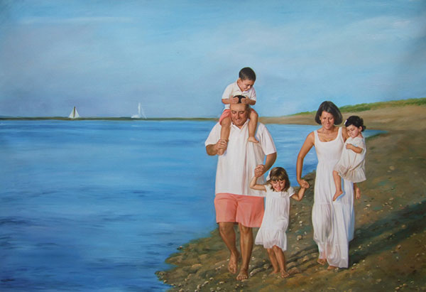 a custom oil painting of family at the beach
