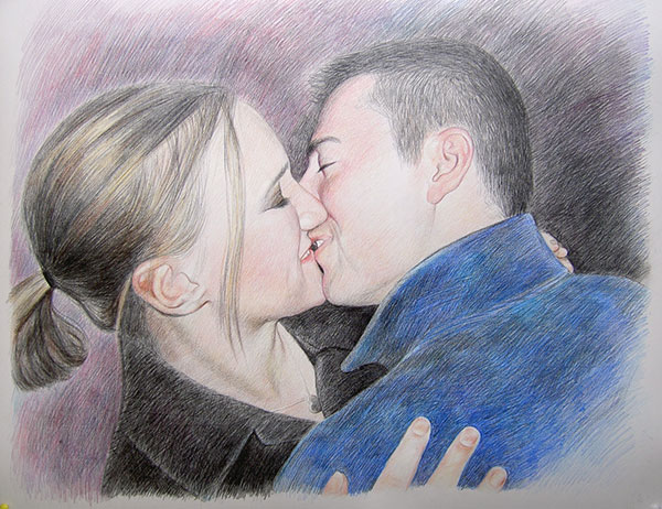 custom colored pencil drawing of a couple kissing