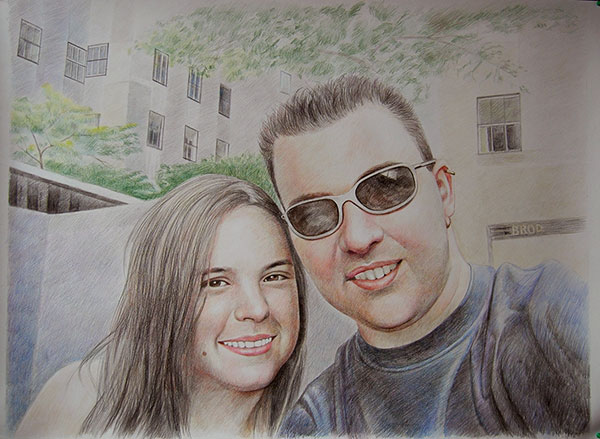 custom colored pencil drawing of a smiling couple