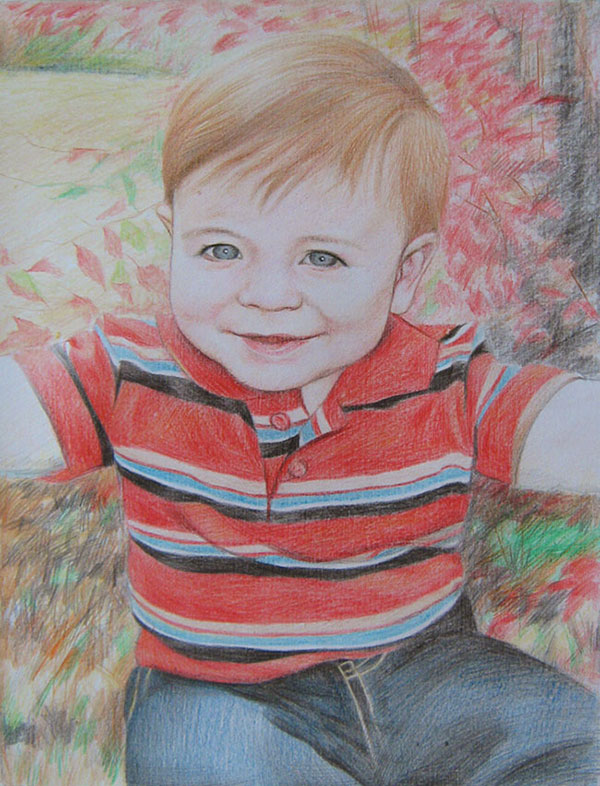 custom colored pencil portrait of blue eyed baby smiling