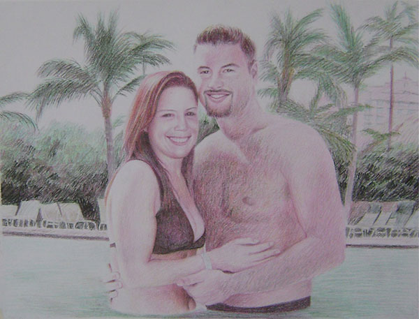 colored pencil drawing of a couple hugging by the pool