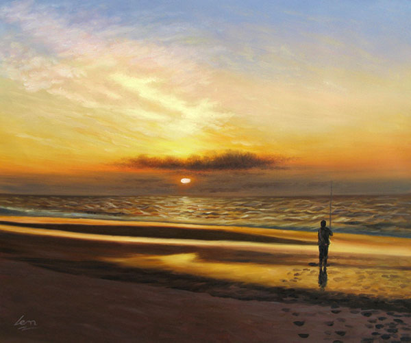 Oil sunset painting