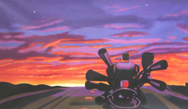 custom oil portrait of man by sunset
