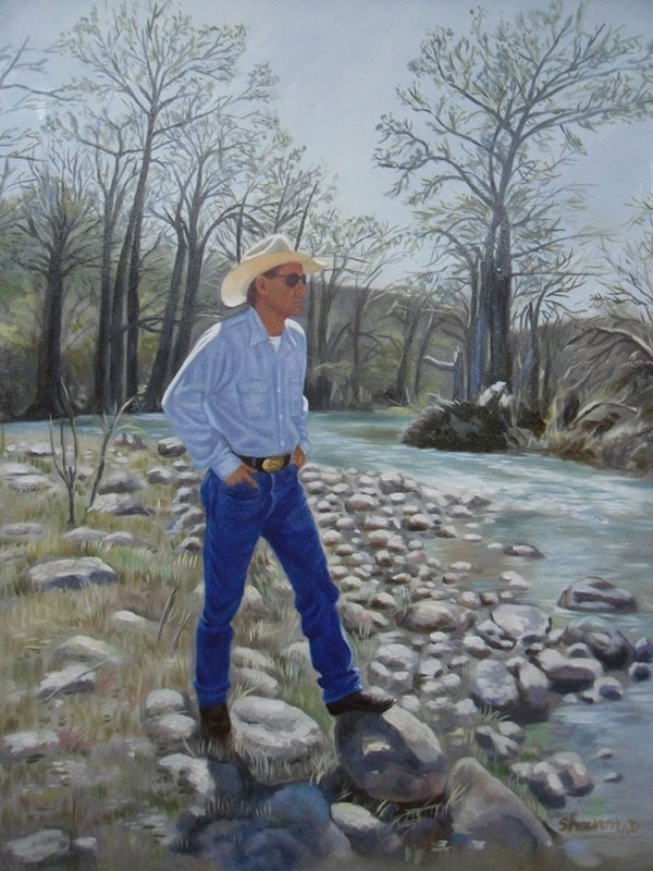 Custom oil painting of a guy with a cowboy hat