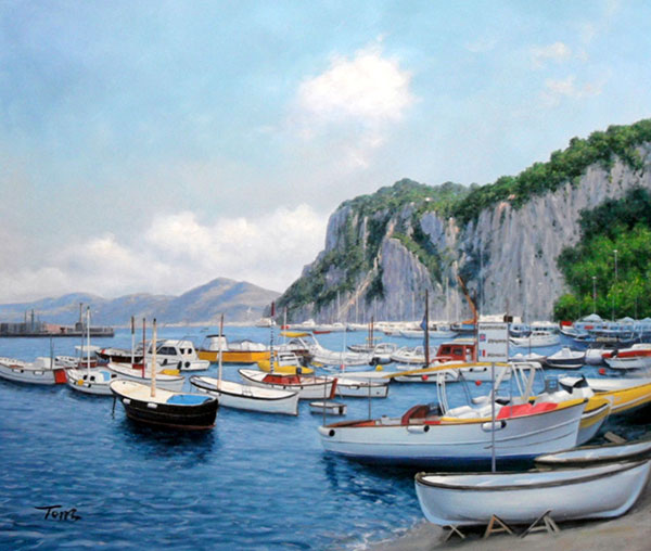 Custom oil handmade painting of boats in tropical sea