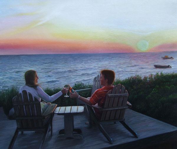 Custom oil handmade painting of couple by sunset