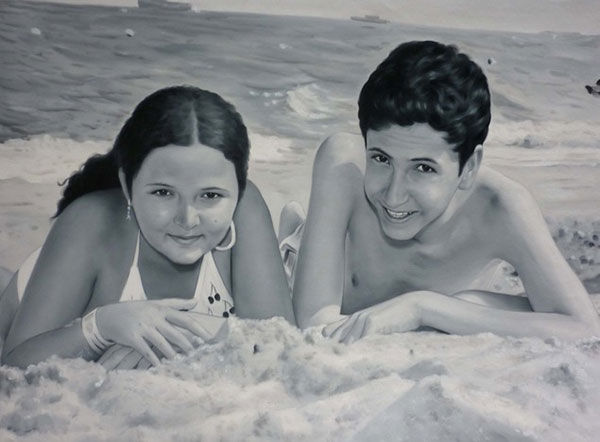 custom black and white portrait of friends by beach