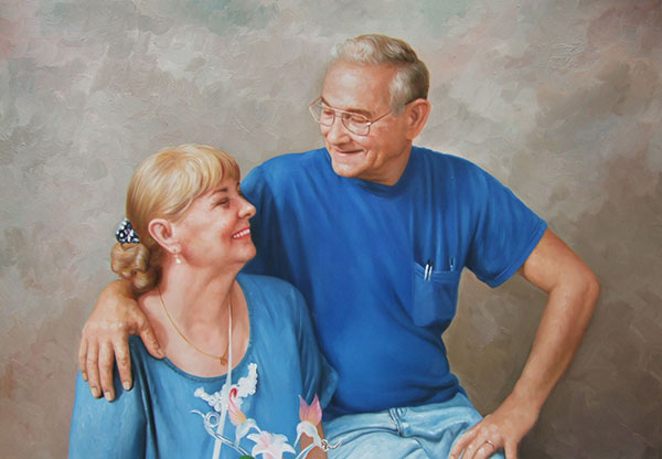 pictures to paint elder couple matching blue shirts