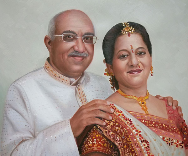 custom oil painting of traditional Indian couple