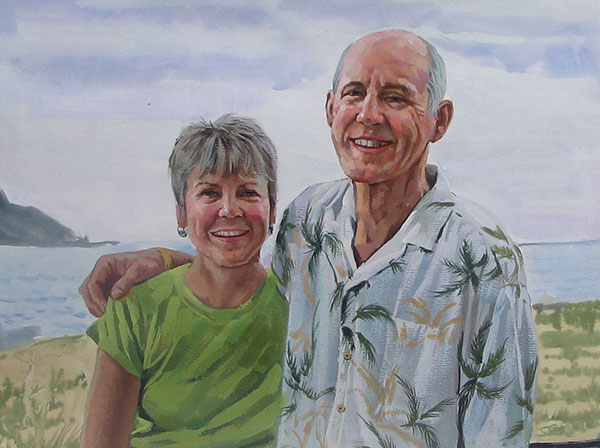 older couple on the beach painted from a photo