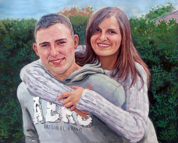 young couple portrait hand painted