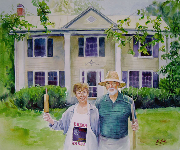 custom watercolor painting of a couple in front of home