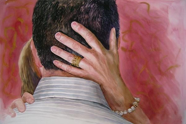 custom watercolor painting of woman grabbing mans head