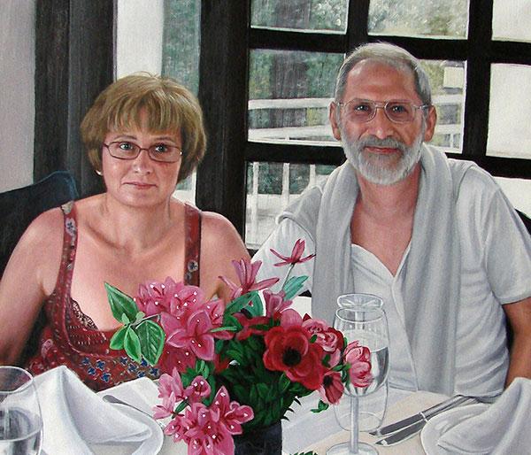 portrait peint à l'acrylique