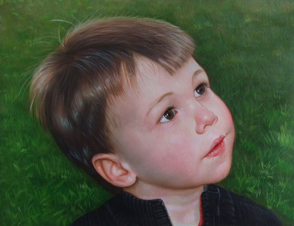 an oil painting of a little boy in the park