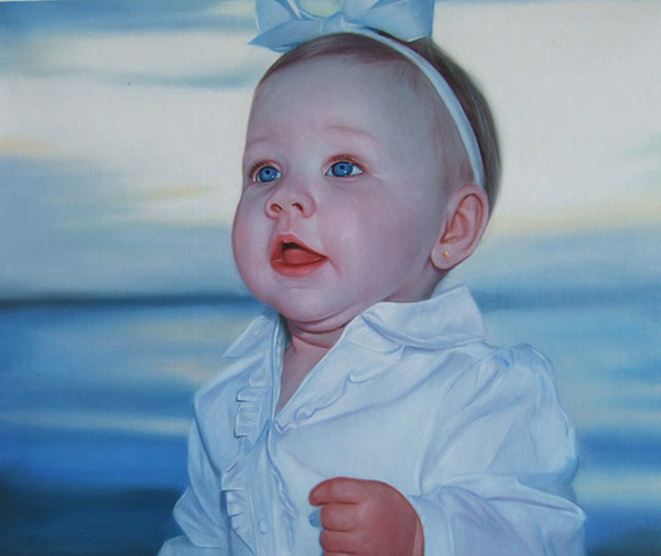 a custom oil portrait of a toddler with blue eyes