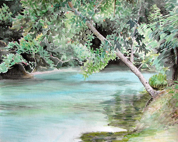 custom watercolor painting of a lake surrounded by trees