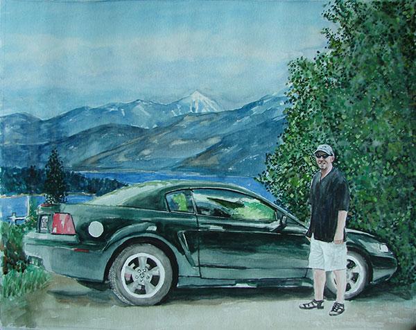 custom watercolor painting of man next to black car