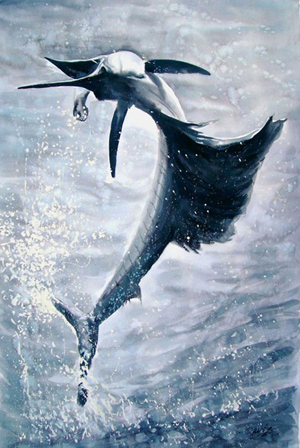 custom watercolor painting of sea creature