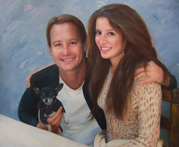 Custom oil painting of a couple with black chihuahua