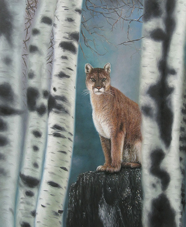 photo to painting wild animal in the woods