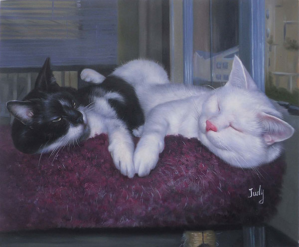 two cats sleeping side by side painting