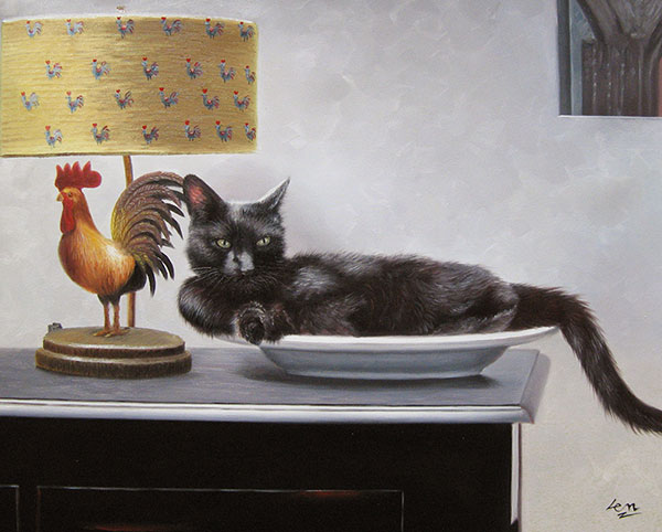 cat canvas painting of black cat sleeping on plate