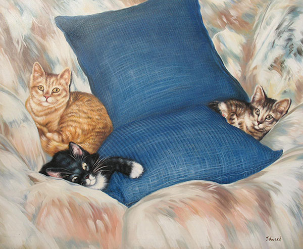 pet painting of 3 cats cuddling on the couch