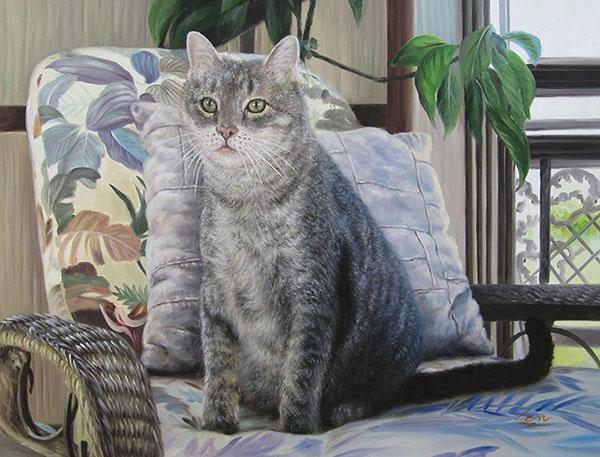 Custom oil handmade portrait of a grey cat on sofa