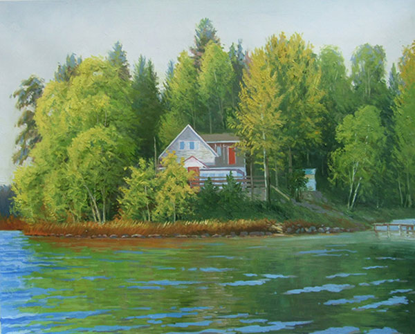 Handmade oil painting of a house by the lake