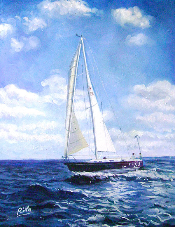 hand painted realistic painting of a boat