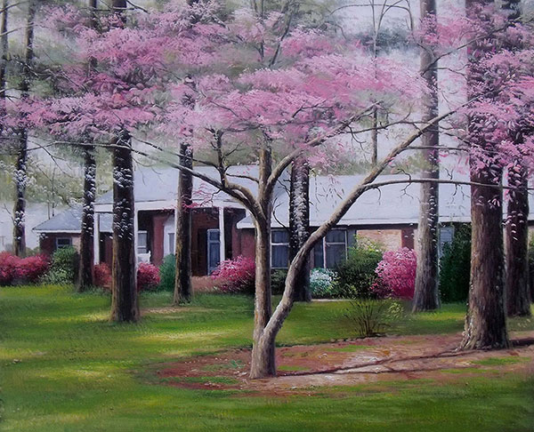 Custom oil handmade painting white house near sakura tree