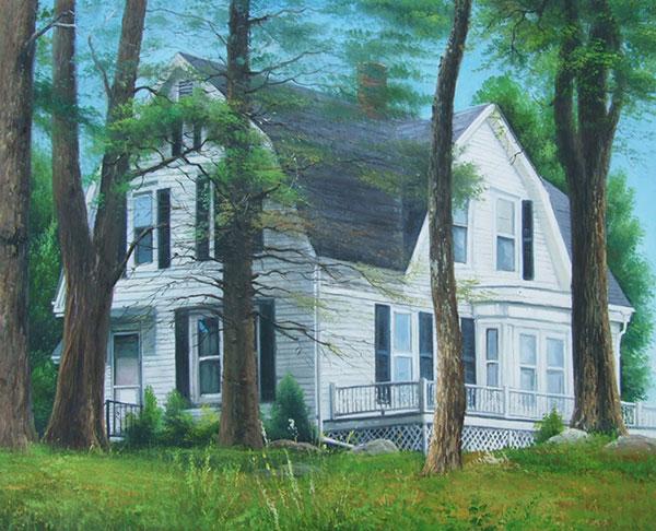 Custom oil handmade painting white house in the woods