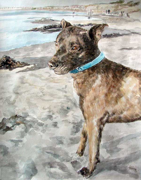 custom watercolor painting of dog playing in the sand by sea