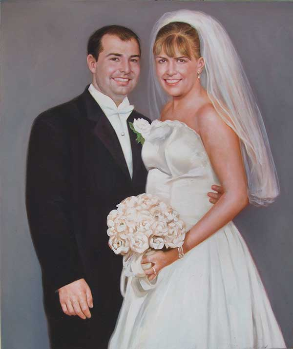 an oil painting of wedding couple hugging