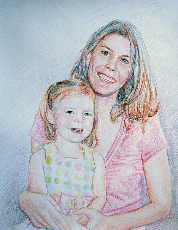 Color pencil of a mother and child