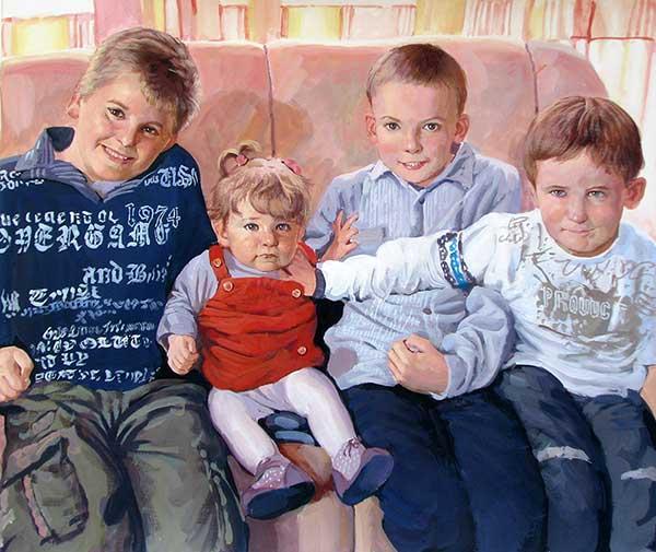 Portrait pastel sur toile d'un enfant