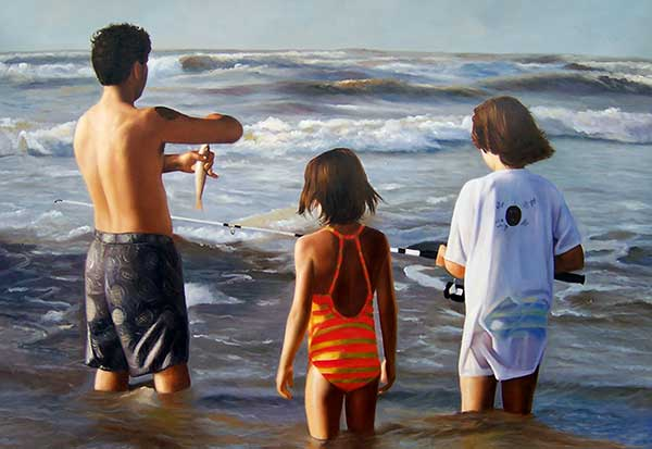 Custom oil painting of siblings fishing